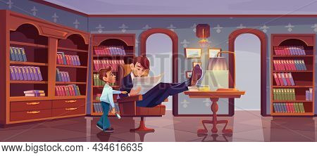 Son And Father At Home Library. Son Trying To Attract Attention Of Busy Dad Businessman Reading News