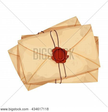 Pile Of Envelope, Letters With Wax Seal And Rope Vintage Craft Paper In Cartoon Style Isolated On Wh
