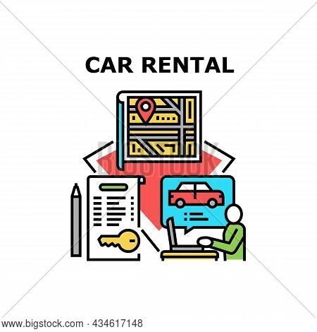 Car Rental Business Vector Icon Concept. Client Choosing Vehicle Online, Manager Help Choose Automob