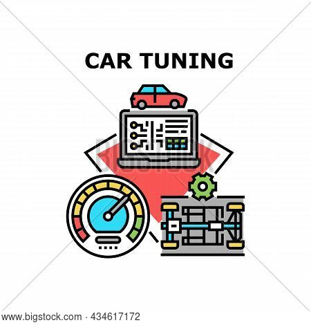 Car Tuning Improvement Vector Icon Concept. Engine, Suspension And Body Car Tuning Improvement, Moto