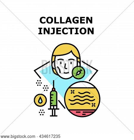 Collagen Injection Vector Icon Concept. Collagen Injection Woman Beautiful Procedure For Make Face S