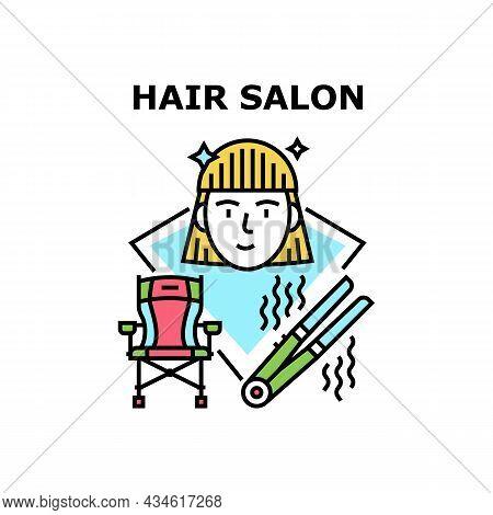 Hair Salon Treatment Vector Icon Concept. Client Sitting In Armchair, Beauty Hair Salon Treatment Wi