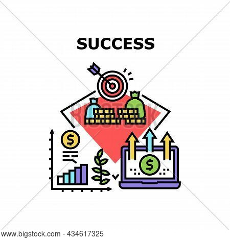 Success Economic Vector Icon Concept. Company And Businessman Success Economic Occupation, Analyzing