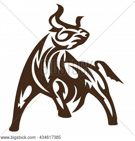 The Silhouette, The Outline Of A Bull, A Yak Is Drawn In Brown With Lines Of Different Widths. Desig
