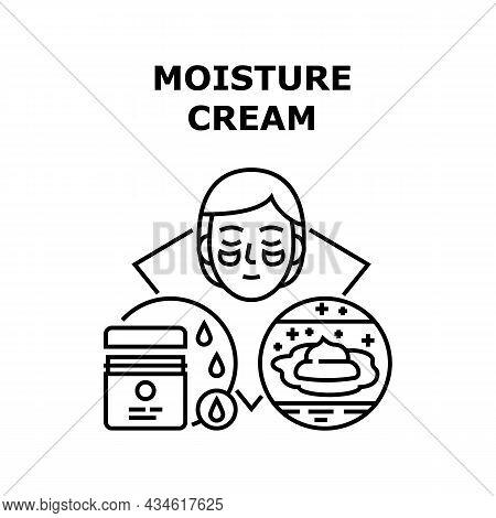 Moisture Cream Vector Icon Concept. Moisture Cream For Care Face And Body Skin, Moisturizing Creamy