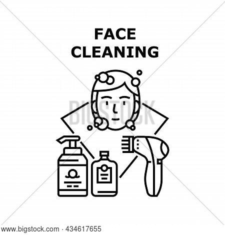 Face Cleaning Vector Icon Concept. Face Cleaning Cream And Soap Containers, Electronic Device For Cl