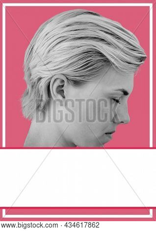 Composition of black and white caucasian woman on pink background. fashion, beauty and template concept digitally generated image.