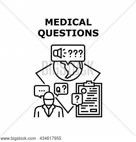 Health Medical Questions Vector Icon Concept. Health Medical Questions Patient Asking In Internet On