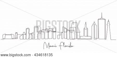 One Single Line Drawing Miami City Skyline, United States. Historical Town Landscape. Best Holiday D