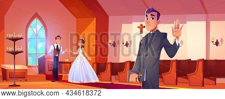 Wedding In Catholic Church With Happy Couple And Pastor. Vector Cartoon Illustration Of Marriage Cer
