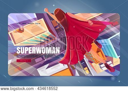 Superwoman Cartoon Landing Page, Super Hero Girl In Red Cape Flying With Raised Hand In Sky Above Mo