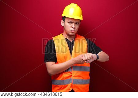 Confused And Stress Young Asian Man When See Watch