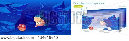 Puffer Fish And Angry Shark Under Water In Sea Or Ocean. Vector Parallax Background For 2d Animation