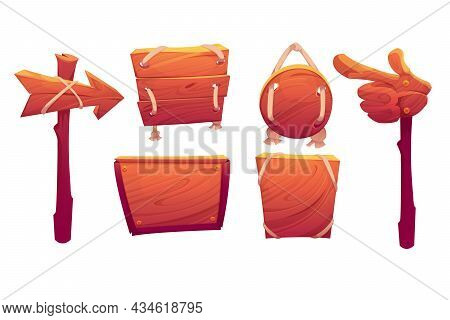 Wooden Signboards, Plank And Pointers In Shape Of Arrow And Hand. Vector Cartoon Set Of Old Wood Pan