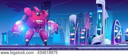 Battle Robot Transformer In Futuristic Night City. Robotics Artificial Intelligence Technologies Cyb