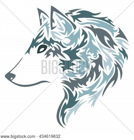 Silhouette, The Contour Of The Wolf-fox's Muzzle Is Painted In Blue With Curls.design Is Suitable Fo