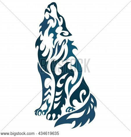 Silhouette Of A Howling Wolf Is Drawn In Blue Using Various Lines Of Curls.design For Decor, Paintin