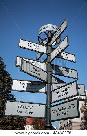 Tourist Distance Sign, Krakow
