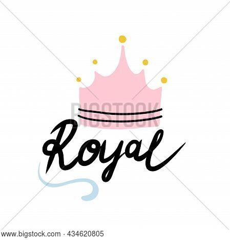 Royal Crown. Hand Drawn Cartoon Cute Kids Print Or Poster, Nursery Or T-shirt Design Element, Baby B
