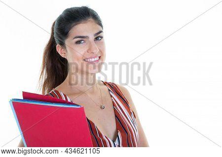 Pretty Brunette University Student Girl Looking Camera In Studio Shot