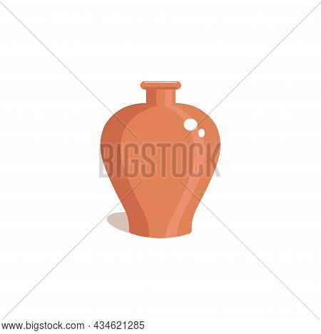 Clay Vase On A White Background. Vintage Vintage Jug In A Flat Style. Vector Illustration.