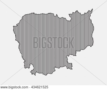 Vector Map Cambodia, Template Asia Outline Country