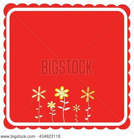 Red Scallop Edge Square With Flowers For Stationary Use