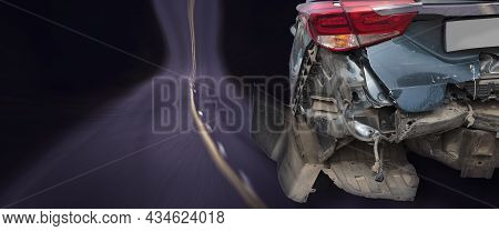 The Back Of A Crashed Car From An Accident. Copy-space For Text. Banner.
