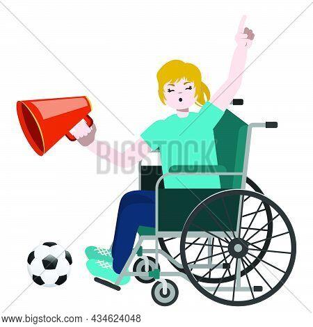 Blond Girl Soccer Fan On Wheelchair