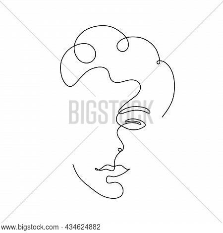 Curly-haired Silhouette. One Line Drawing Of A Face. Good For Poster, Wall Art, Print, Cover Design,