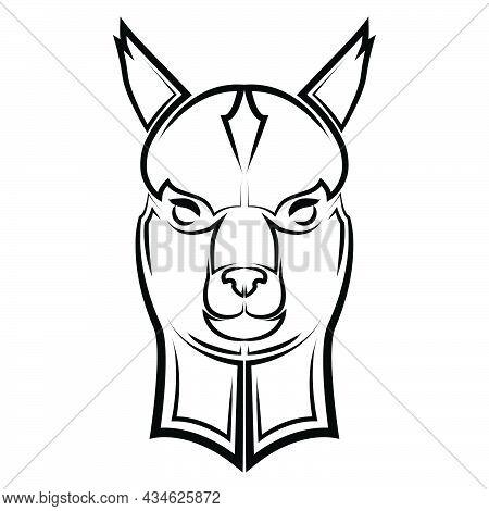 Black And White Line Art Of Lama Head. Good Use For Symbol, Mascot, Icon, Avatar, Tattoo,t-shirt Des