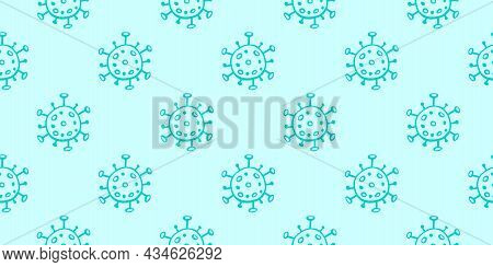 Seamless Pattern Of Molecules, Cells Of Virus, Bacteria. Pandemic, Epidemic Covid-19. Primitive Conc