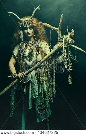 Portrait of a female shaman in ethnic dress and deer antlers headdress surrounded by fog holding a ritual staff. Fantasy concept, magic. Paganism. Halloween.