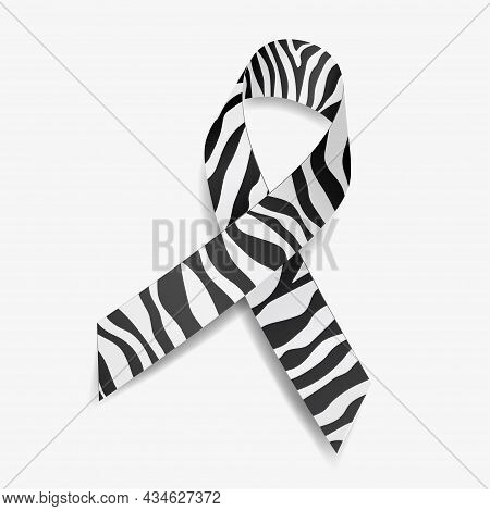 Zebra Ribbon Awareness Carcinoid Cancer, Ehlers-danlos Syndrome, Rare Diseases And Disorders. Isolat