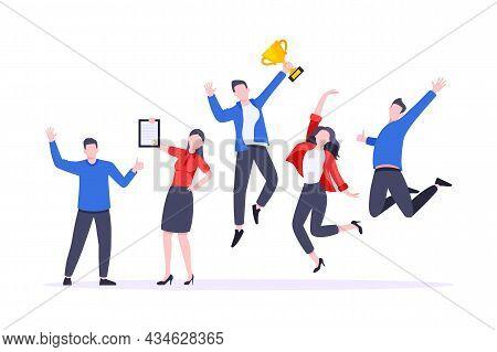 Happy Business Team Employee Team Winners Award Ceremony Flat Style Design Vector Illustration. Empl