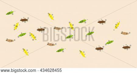 Colored Germs Icon. Leafy Parasites. Pathogenic Microorganism. Medicine Background. Vector Illustrat