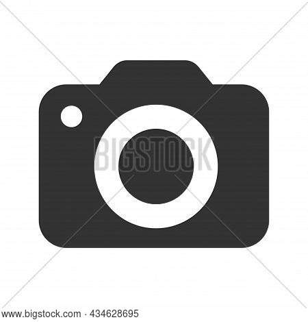 Camera Icon In Trendy Flat Style Isolated On Grey Background. Camera Symbol For Your Web Site Design