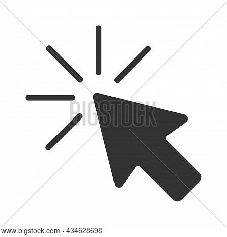 Vector Black Computer Mouse Arrow Icon With Flat Design Style