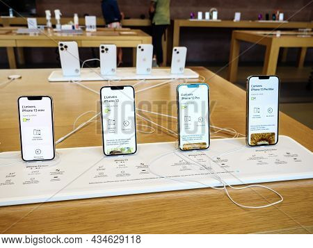 Paris, France - Sep 24, 2021: Complete Range Of Iphone 13 Pro And Max Versions At The Apple Store As