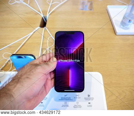 Paris, France - Sep 24, 2021: Wallpaper Display Of Iphone 13 Pro Max With Promotion 120 Hz At The Ap