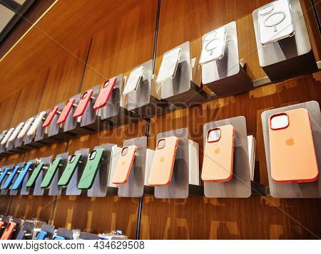Paris, France - Sep 24, 2021: Colorful Protection Cases Of Iphone 13 Pro At The Apple Store As Lates