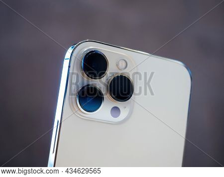 Paris, France - Sep 24, 2021: Rear View Of Triple Improved Camera Array On Iphone 13 Pro At The Appl