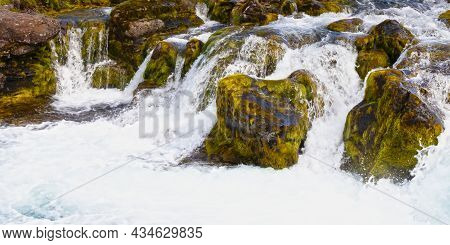 Dynjandi Closeup; This Waterfall Is The Most Famous Waterfall Of The West Fjords And One Of The Most