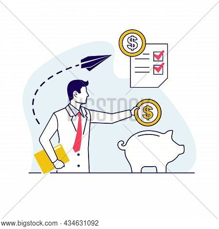 Frugality And Saving Money. Vector Illustration Outline Design. Isolated On White Background. Puttin