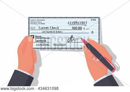 Businessman Signs Money Check. Signature Of A Financial Document. Bank Check Isolated On Background.