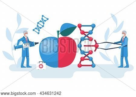 Changing Dna Concept. Manipulation Dna. Synthesis Process. The Doctors Team Edits Organic Food Molec