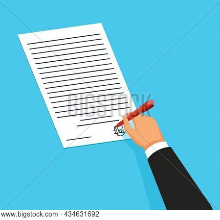 Notary service advertisement. Legal document with hand witnessing legal documents by signature. Color  illustration in flat style