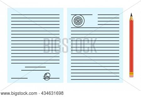 Notary service advertisement. Legal paper document or contract isolated on blue background. Color  illustration in flat style