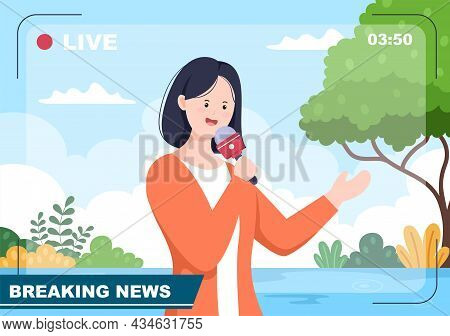 Breaking News Reporter Background Vector Illustration With Broadcaster Or Journalist On The Monitor