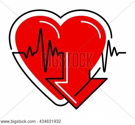Lowering Blood Pressure Emblem - Simple Heart Shape And Measuring Equipment, For Cardio Pills For Hy